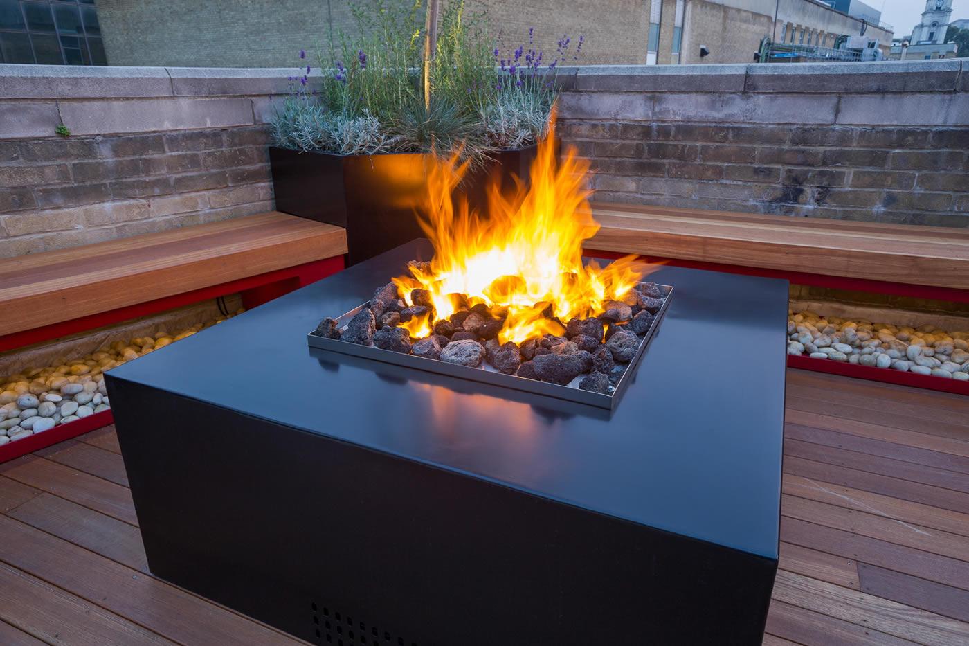 Outdoor garden features fires