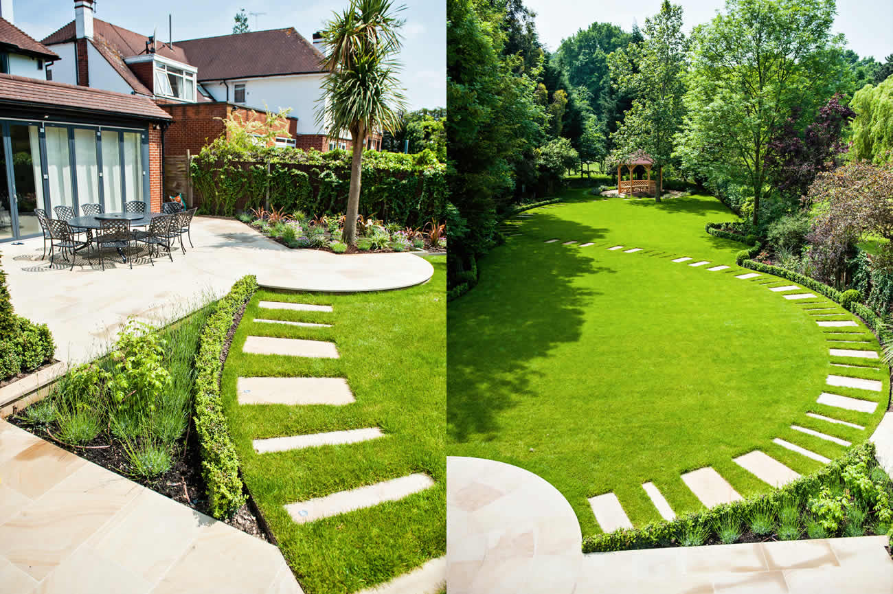 Large suburban garden desigened with york stone terrace for Garden landscaping ideas for large gardens