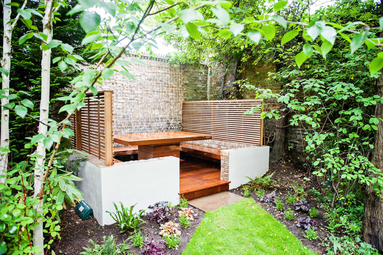 Banquette dining area maida vale outdoot dining and for The landscape gardener