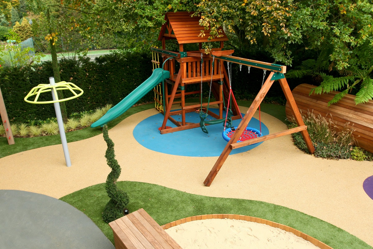 Children 39 s play area designed for large private garden in for Garden designs for kids
