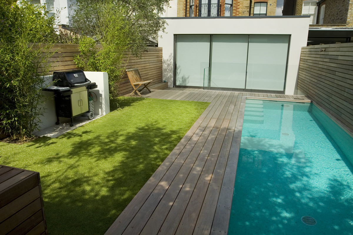 Lane Swimming Pool And Contemporary Garden Designed And Built By The G