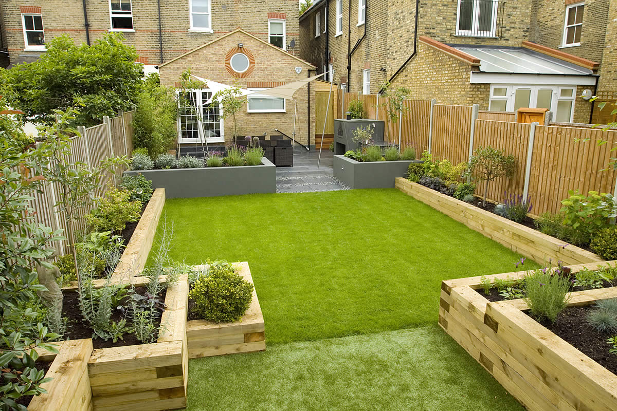Wimbledon Family garden design with formal dining terrace and discreet