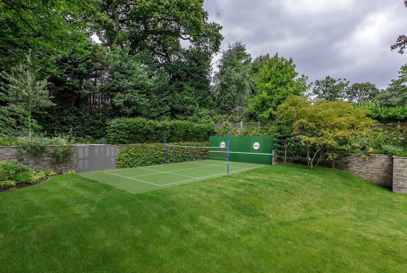 Large family garden design with tennis court, outdoor kitchen, terrace