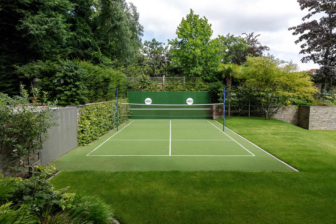 Large Family Garden Design With Tennis Court Outdoor Kitchen Terrace