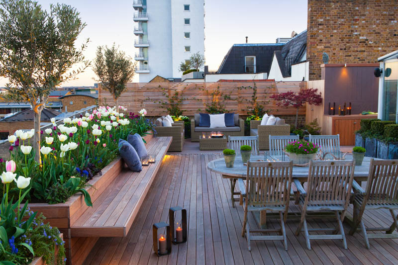 Roof terrace with decking artificial level lawn and led for 14 m4s garden terrace