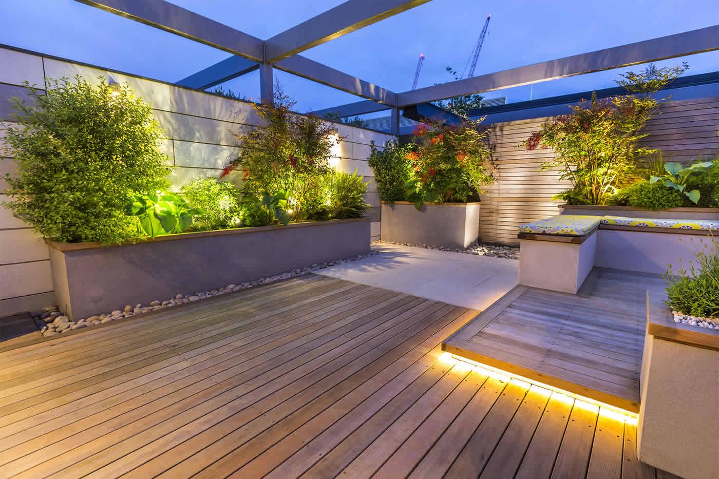 Roof terrace design penthouse apartment king 39 s cross for Decking terrace garden