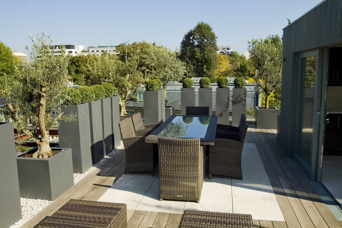 Roof terrace design in st john s wood nw8 by garden for Terrace garden design