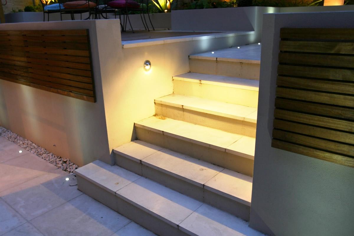 steps lighting. Contemporary Chic Garden, Slatted Hardwood Trellis By Ben Molyneux, Led Lighting And Neat Limestone Steps N