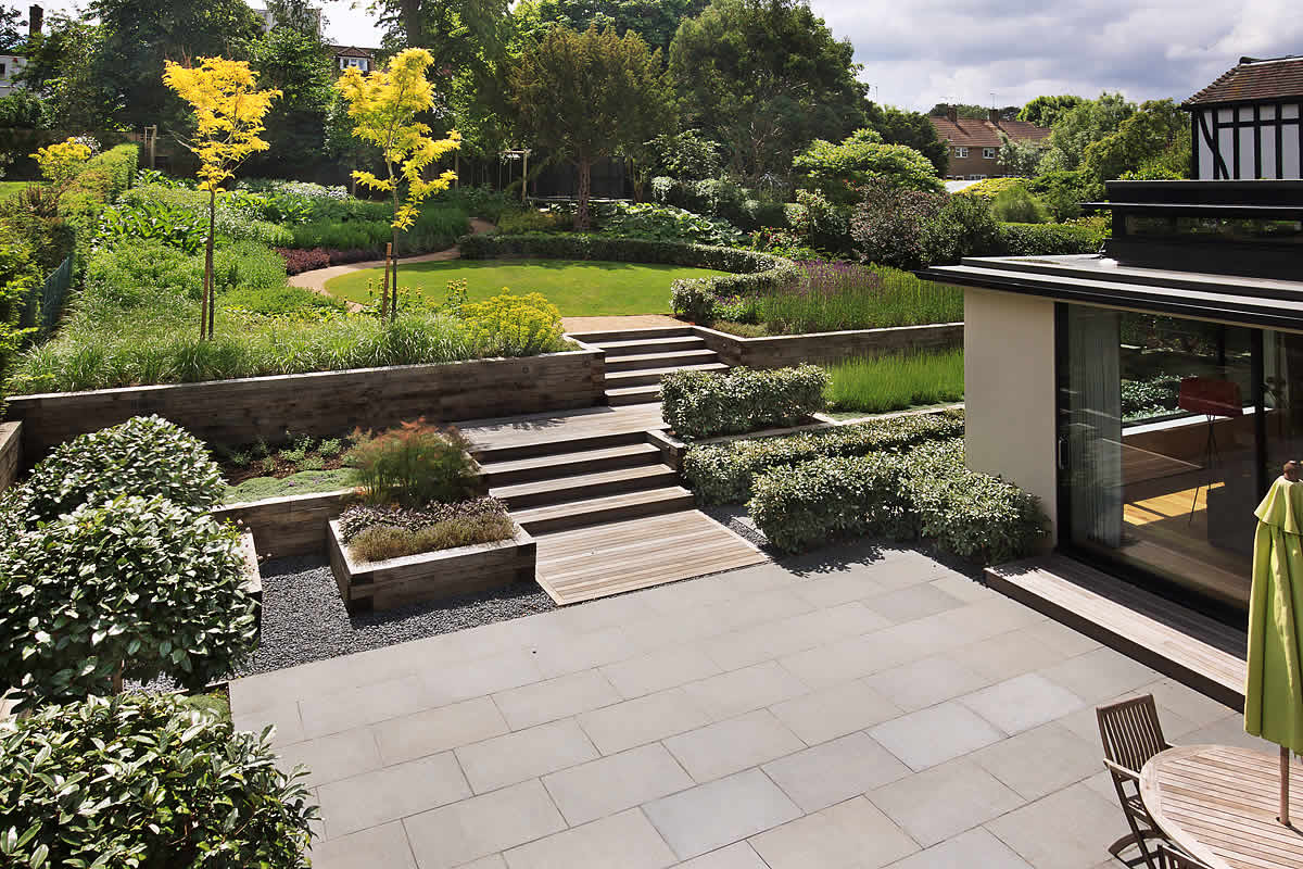 Beautiful town garden black granite stone paving hard House and garden online