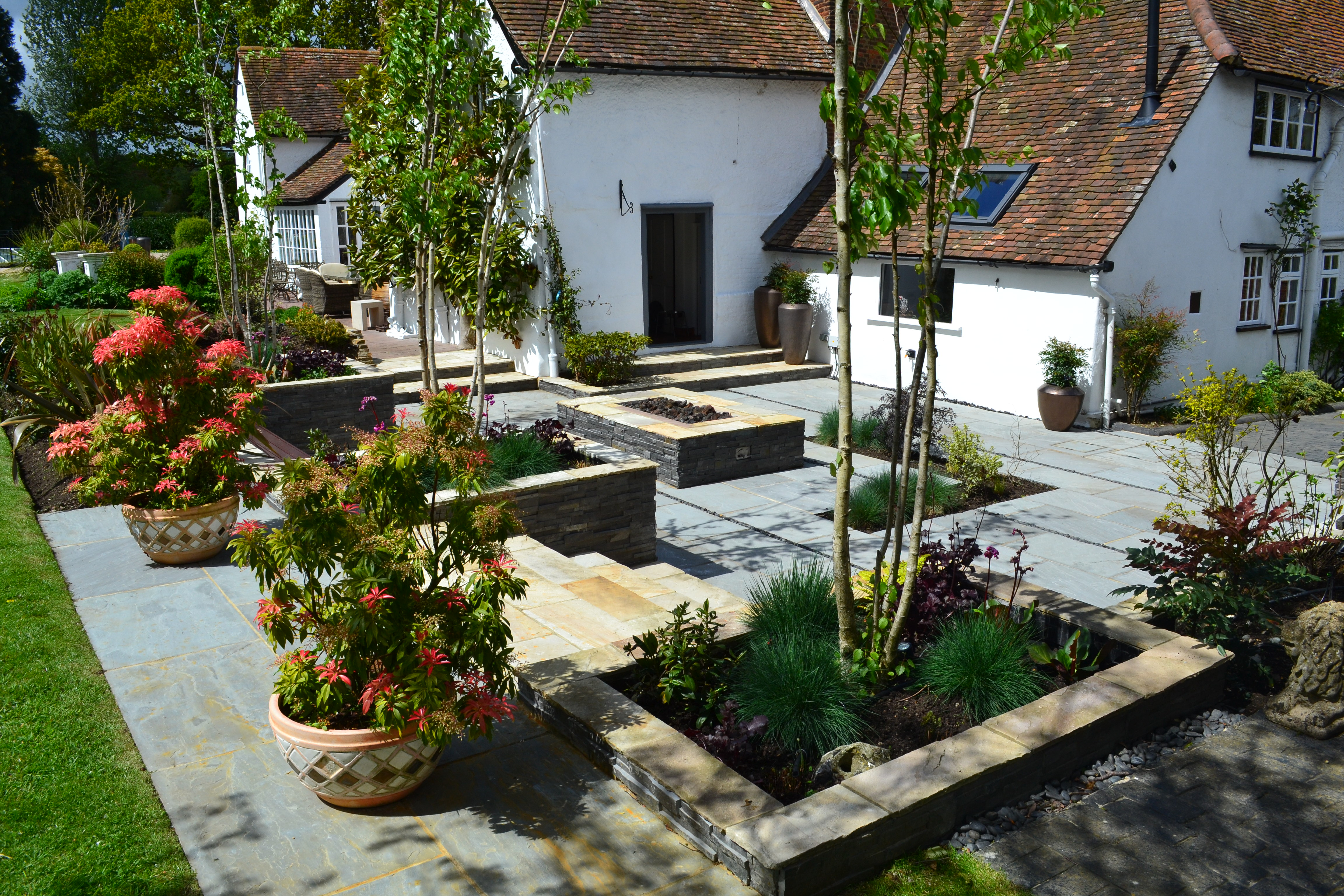 Contemporary courtyard garden in a rural setting paving for Award winning courtyard designs